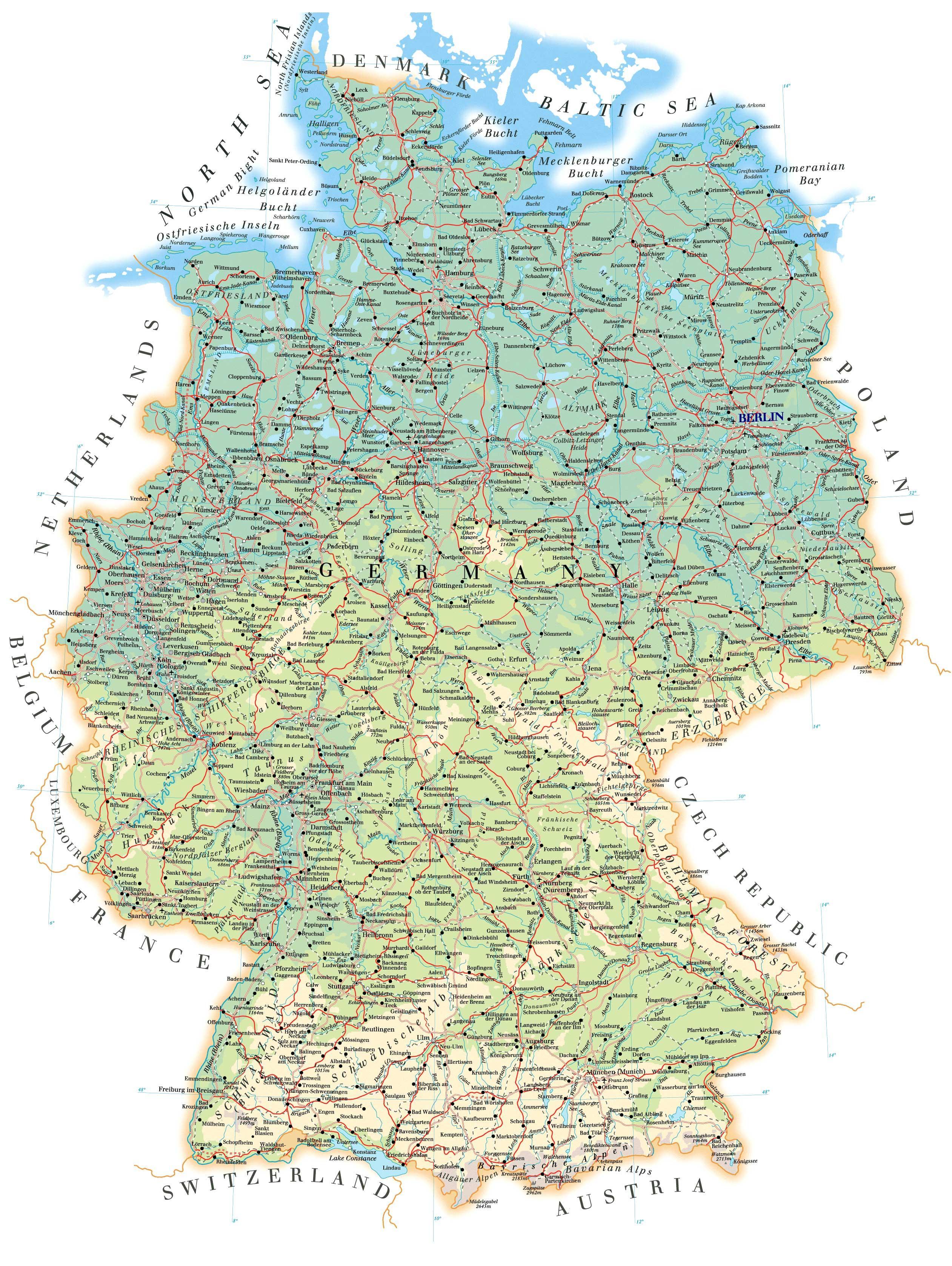 Германия подробная карта на русском