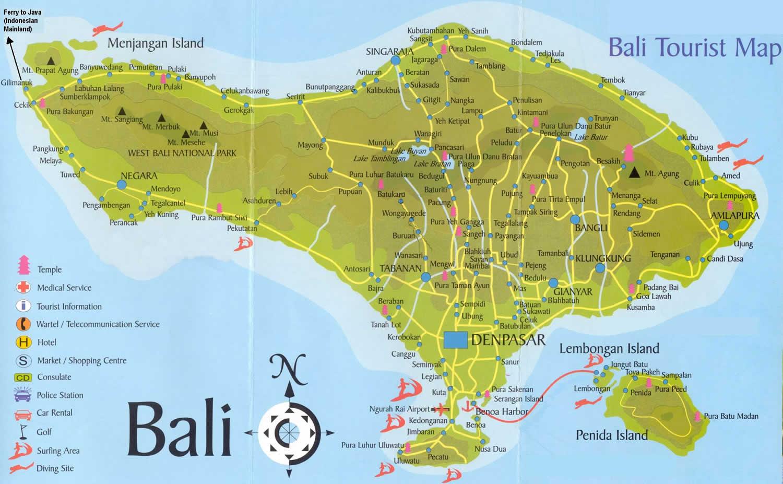 И отелями остров бали на карте мира